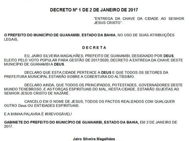 Prefeito de cidade de Guanambi, na Bahia, diz em decreto que cidade pertence a Deus (Foto-Reprodução-Diário Oficial de Guanambi)